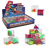 IQ Toys Maze Squares 24 Piece Assorted 3D Brain Teaser Puzzle Cubes, Mind Games for Kids and Adults Party Favors, Stress and Anxiety Relief Toy