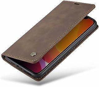 DoAo vivo Y52s t1 Case Genuine Leather Wallet Case Card Holder Shockproof Flip Cover Magnetic Flip vivo Y52s t1 cover-Brown
