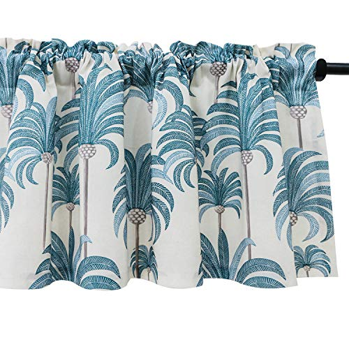 VOGOL Blue Valances for Small Windows Hood Leaves Print Window Valances for Living Room, Rod Pocket Valance Curtains 52 Inch Wide by 18 Inch Long, One Panel