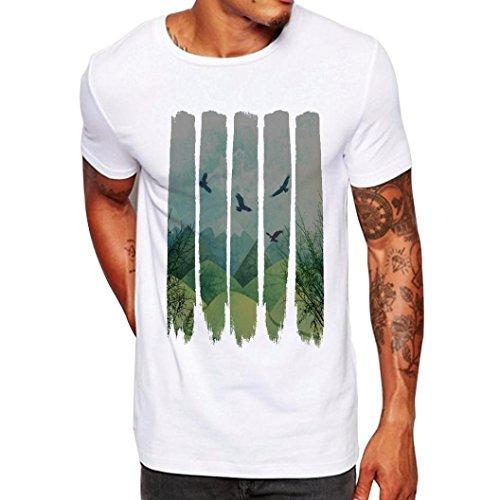 Angebote,Neue Deals,Herren T-Shirt Ronamick Adler Männer Druck Tees Shirt Kurzarm T Shirt Bluse (Weiß, M)