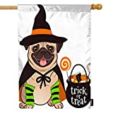 Moslion House Flag Halloween Pug Dog Witch Hat Cartoon Cute Funny Animal Puppy Pet Trick Or Treat Summer House Flag Decorative Outdoor House Flags Double-Sided Cotton Linen 28x40 Inch