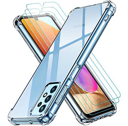 ivoler Klar Hülle für Samsung Galaxy A32 4G mit 3 Stück Panzerglas Schutzfolie, Dünne Weiche TPU Silikon Transparent Stoßfest Schutzhülle Durchsichtige Kratzfest Handyhülle Hülle