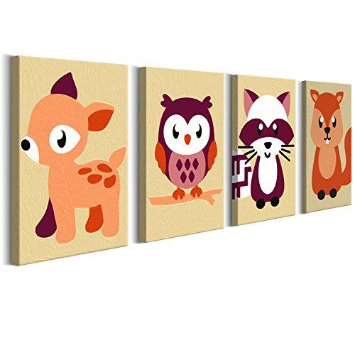 murando Malen nach Zahlen für Kinder Junior 4 Motive Bilder Waldtiere 44x16.5 cm Malset mit Rahmen Komplettset Malvorlage DIY Geschenk n-A-0169-d-i
