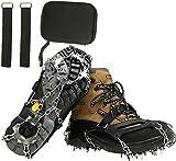 BenBoy Crampones Ligeros 19 Dientes con Cadena de Acero Inoxidable Crampones Nieve Hielo Antideslizante Crampones Trail Running Invierno para Escalada Alpinismo Montaña Senderismo BZ1025-Black-XL
