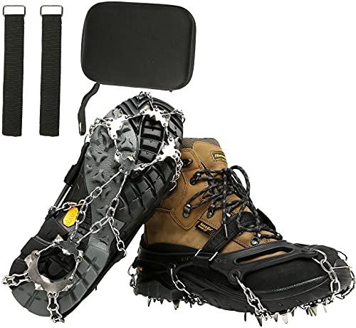BenBoy Crampones Ligeros 19 Dientes con Cadena de Acero Inoxidable Crampones Nieve Hielo Antideslizante Crampones Trail Running Invierno para Escalada Alpinismo Montaña Senderismo BZ1025-Black-L