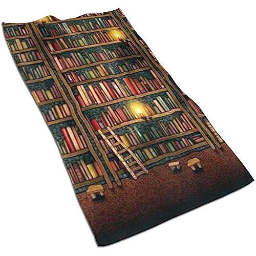 EXking Boekenkasten met Ladder Print Handdoeken Extra Grote Gezicht Handdoeken Sneldrogend, Lichtgewicht
