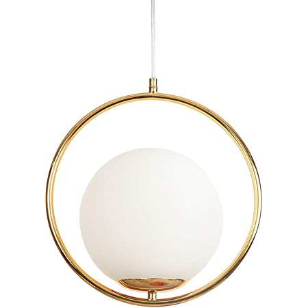 Pendentif Lumière Moderne Mode Plafonnier Fer Boule Verre LED Luminaires Suspension Luminaires (Or)
