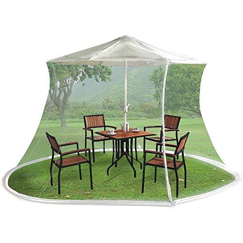 Pantalla mesa para sombrilla jardín al aire libre, pantalla sombrilla patio con puerta con cremallera, malla poliéster, con cremallera y lastre, la parte inferior se puede llenar con agua, puerta ún