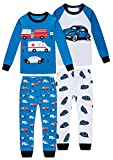shelry Boys Fire Trucks Pajamas Children Cars Clothes Christmas Kids 4 Pieces Pants Set Baby Girls Clothes PJs 4t