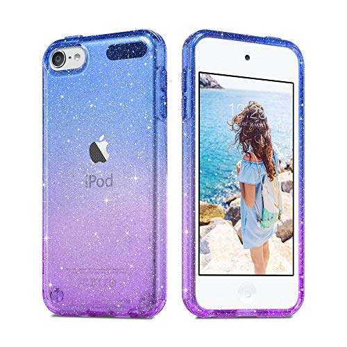 Imguardz Gradient Glitter Case Compatible with iPod Touch 7th/6th/5th Generation, Slim Colorful Anti-Slip Soft TPU Back Cover for iPod Touch 5/6/7, Blue+Purple