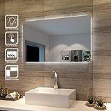 SONNI Badspiegel Lichtspiegel LED Spiegel Wandspiegel mit Sensor-Schalter 100 x 60cm kaltweiß IP44...