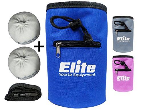 Rock Climbing Chalk Bag and 2 x Chalk Balls - No Leak Drawstring Bag and Secure Zip Pocket, Blue