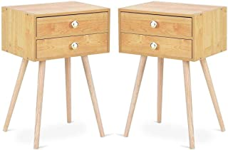 Giantex Set of 2 Nightstand W/2 Drawers for Bedroom Living Room Small Spaces Modern Home Furniture Simple Natural Legs Storage End Side Tables (2)