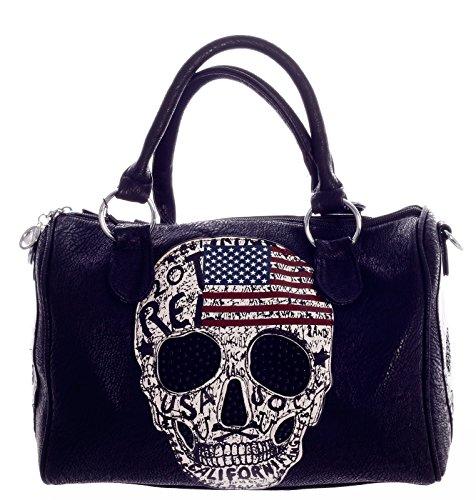 CHARIS MODA Handtasche Bowlingbag Damen Henkeltasche aus Kunstleder Totenkopf Design Schwarz