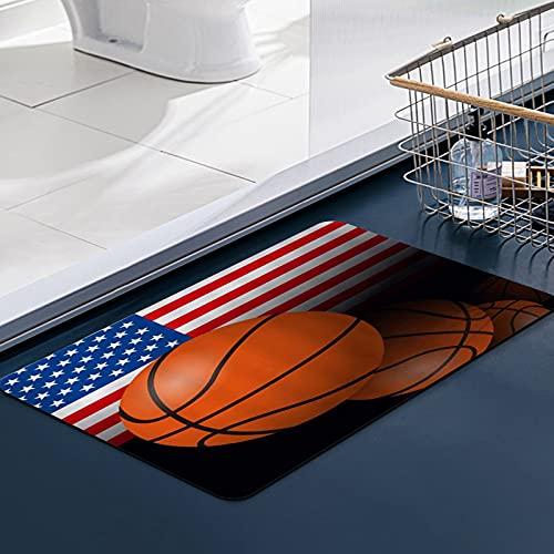 Carvapet Alfombras Cocina Lavable Antideslizante Deportes Bandera americana Baloncesto Competencia olímpica Diseño del Día de la Independen Alfombrilla Alfombra de Baño Alfombrillas Cocina 50x80 cm