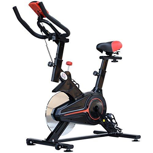 homcom Cyclette Professionale Allenamento Aerobico Fitness Sella Regolabile con Monitor Acciaio 85 × 46 × 114cm