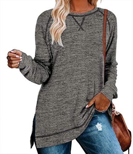 ANFTFH Damen-Tunika/Sweatshirt mit Round Ausschnitt Grau Dark M