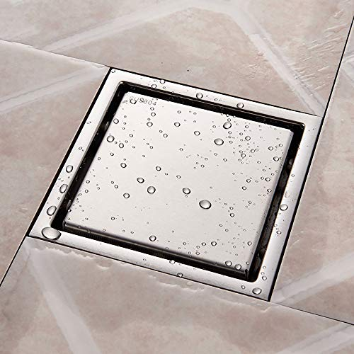 XIDUODUO Brushed Nicke Bodeneinläufe Edelstahl-Quadrat-Dusche Bodenablauf Fliesen Legen Rinnenablauf für Badezimmer-Küche-Abfall-Gitter