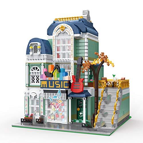 PEXL Haus Bausteine Bausatz, Modular Musikladen Architektur Modell, City Stadthaus Bauset 3005 Klemmbausteine Kompatibel mit Lego