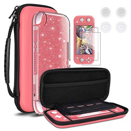 DLseego – Étui de transport pour Nintendo Switch Lite, étui de transport portable 4 en 1, kit d'accessoires avec 1 étui à paillettes, 2 protecteurs d'écran et 4 capuchons pour les pouces, rose