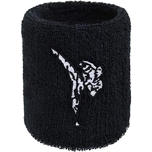 Karate Schweissband Exclusive Ninja Stickerei Schweißband Martial Arts Bestickt & Absorbierendes Frottee Handgelenk Arm Schwarz Fitness Wristband Geschenk Kampfsport Schweiß-Armband