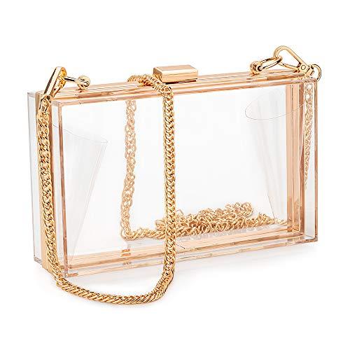 Candy&liu Women Acrylic Clear Clutch Transparent Crossbody Purse Evening Bag Sport Events Stadium Approved Chain Strap Gold, Medium