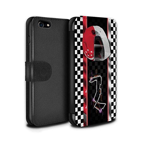 Telefoonhoesje Portemonnee voor Apple iPhone SE 2020 F1 Track Vlag Singapore Ontwerp Flip Faux PU Lederen Cover Magnetische Sluiting Card Slots