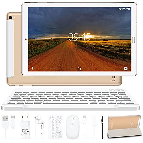 Tablet 10.0 Pulgadas YESTEL Android 10.0 Tablets con 4GB RAM + 64GB ROM -  WiFi | Bluetooth | GPS, 8000mAH, con Ratón | Teclado y Cubierta-Dorado