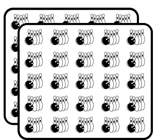 Bowling Ball Hitting Rack of Pins Sticker for Scrapbooking, Calendars, Arts, Kids DIY Crafts, Album, Bullet Journals 50 Pack