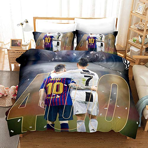Bedding set single bed 135x200 cm Ronaldo and Messi Microfiber Duvet Cover 3 Piece set with 2 Pillowcases 50x75 cm Ultra Soft Hypoallergenic Printing Quilt Cover Set with Zipper Seal