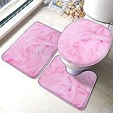 Juego de alfombras de baño 3 piezas, terciopelo rosa con textura peluda, estampado suave, absorbente, antideslizante, alfombrilla de baño + contorno + tapa de inodoro