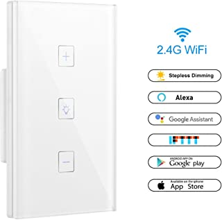 Smart Wi-Fi Light Switch, ALLOMN In-wall Touch Light Switch Remote Control Home Appliances, Timing Function, Compatible with Alexa, Google Assistant and IFTTT (Natural Wire Required)