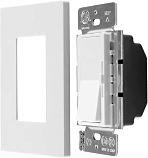 MLLIZH Dimmer Switch for Dimmable LED, CFL and Incandescent Bulbs, 3-Way/Single-Pole, 600 Watt max, Screwless Wall Plate Included