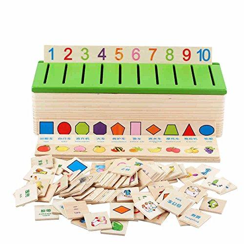 FunnyGoo Wooden 8 categorías Caja de Aprendizaje: Verduras, Figuras, Frutas, Formas, vehículos, Necesidades diarias, Animales, Ropa
