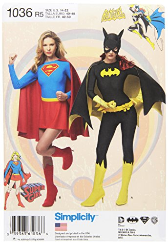 Simplicity snijpatroon 1036 dames Super Girl / / / Batgirl kostuum snijpatroon, wit, R5 (14-16-18-20–22)
