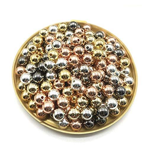 JINGGEGE Jengijo Venta al por Mayor 3/4/6/8/10 / 12mm 30-500pcs Oro/Metal Chapado Redondo semilla Espaciador de Cuentas para joyería para Hacer Bricolaje (Color : 07, Item Diameter : 6mm(100pc