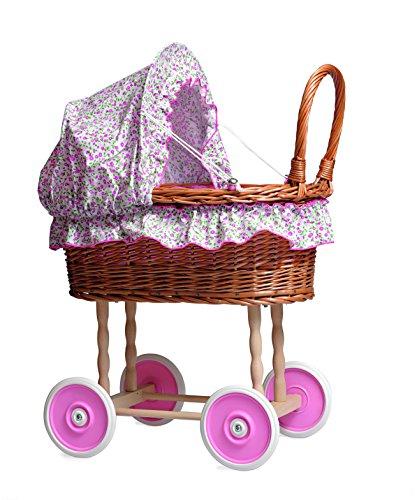 Egmont Toys- Cochecito de Mimbre con Flores, Color Rosa (520059)