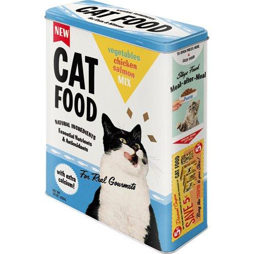 Nostalgic-Art 30320 Animal Club - Cat Food - Vegetables, Chicken, Salmon Mix, Storage Tin XL