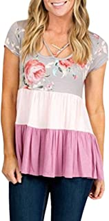 Zoylink Women's T-shirt Loose Color Patchwork Tee Top Short Sleeve Blouse Casual Top (Pink S-XL Cotton)