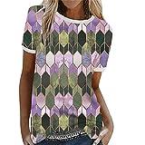 Shirt Mujer Elegante Empalme Cuello Redondo Patrón De Geometría Contraste De Color Mujer Camisa Generoso Temperamento Casual Personalidad De Moda Clásica Exquisita Mujer Top B-Purple XL