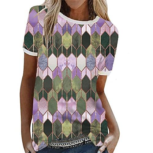 T-Shirt Damen Persönlichkeit Mode Sommer Rundhals Damen Kurzarm Chic Farbe Geometrische Muster Druck Design Täglich Lässig Licht Weich Bequem Atmungsaktiv All-Match Damen Tops B-Purple XXL