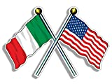 Crossed Poles USA & Italy Waving Flags Sticker (American Italian us Italia)