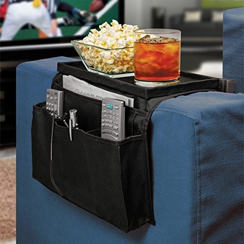 Drake Arm Rest Organizer -Sofa Couch Remote Control Holder Table Storage Pocket & Sofa Caddy 6 Slots Snack Tray Top