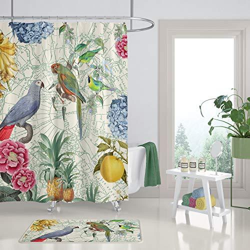 Mike21Browne Tropischer Papageien-Duschvorhang auf Buntem hellem tropischem Druck der Sahnevogel-Blumenfrucht
