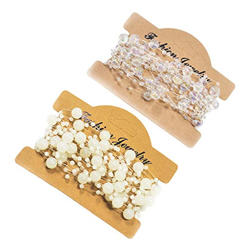 IPOTCH 2 Rolls 16 Feet Beads Strands Bead Garland Crystal Beaded Trim, Decorative Faux Pearls on String