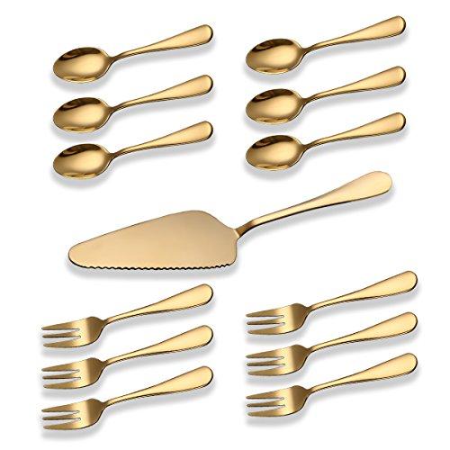 Berglander Besteck-Set, 20-teilig, Edelstahl mit Titan vergoldet, goldfarbenes Besteck-Set, Besteck-Set für 4 Personen (glänzendes Gold) H. Kuchen-Set 13-teilig