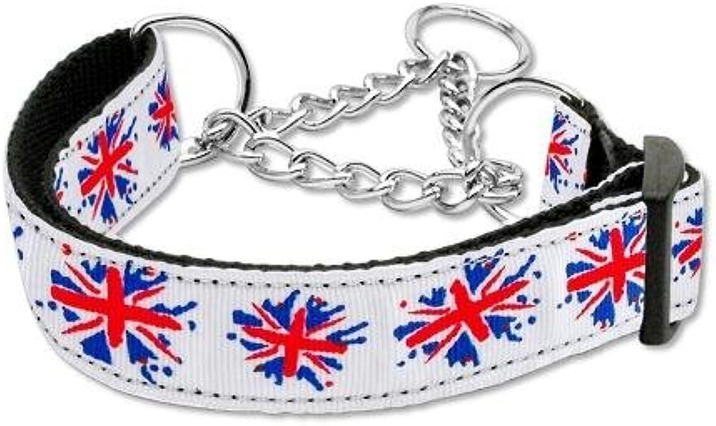 Mirage Pet Products Graffiti Union Jack UK Flag Nylon Ribbon Collar Martingale for Pets, Large
