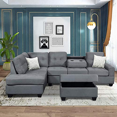 Merax Sectional Sofas 3-Seat Sofa Sectional Sofa Couches with Chaise Lounge and Ottoman for Living Room Furniture (Grey)