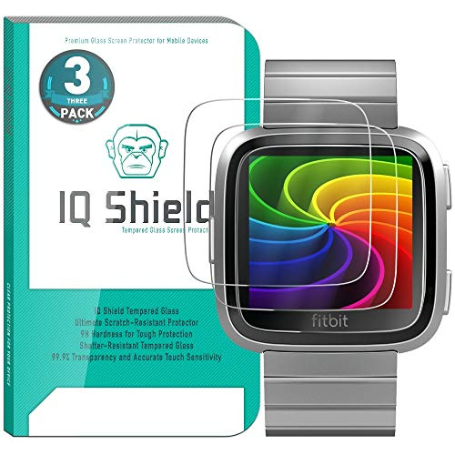 IQ Shield Glass Screen Protector Compatible with Fitbit Versa (Fitbit Versa Lite Edition)(3-Pack) Clear Tempered Ballistic Glass HD and Transparent Shatter-Proof Shield, 99% Touch Accuracy