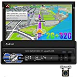CAMECHO Android 10.1 Car Stereo Flip Out Touchscreen Car Radio [2G+32G] 7 inch Retractable Single Din Bluetooth 1 Din Radio with GPS/FM Radio/Mirror Link for iOS/Android Phones + Rear View Camera